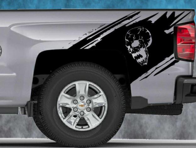 2014 2015 2016 Chevy Silverado Vinyl Decal Sticker Splash Graphic Skull Stripe