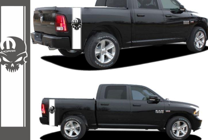 LKW-Streifen Vinyl Aufkleber Aufkleber Mopar Schädel passt Dodge Ram Dakota 1500 2500
