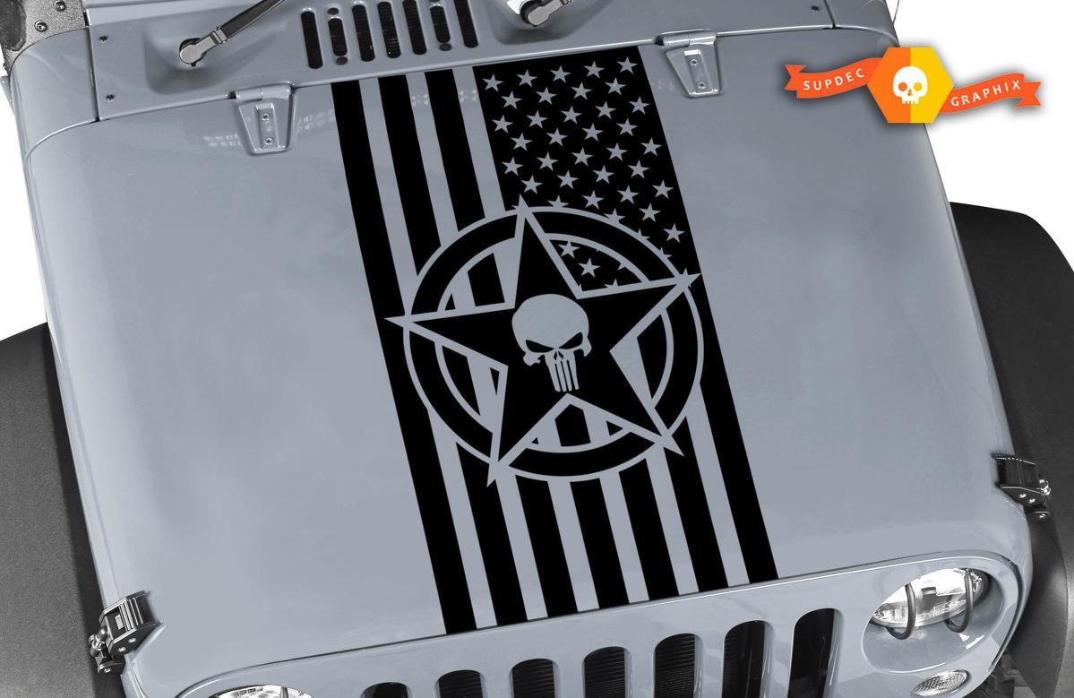 Amerikanische Flagge Militär Star Punisher Vinyl Hood Aufkleber passt Wrangler TJ LJ JK CJ