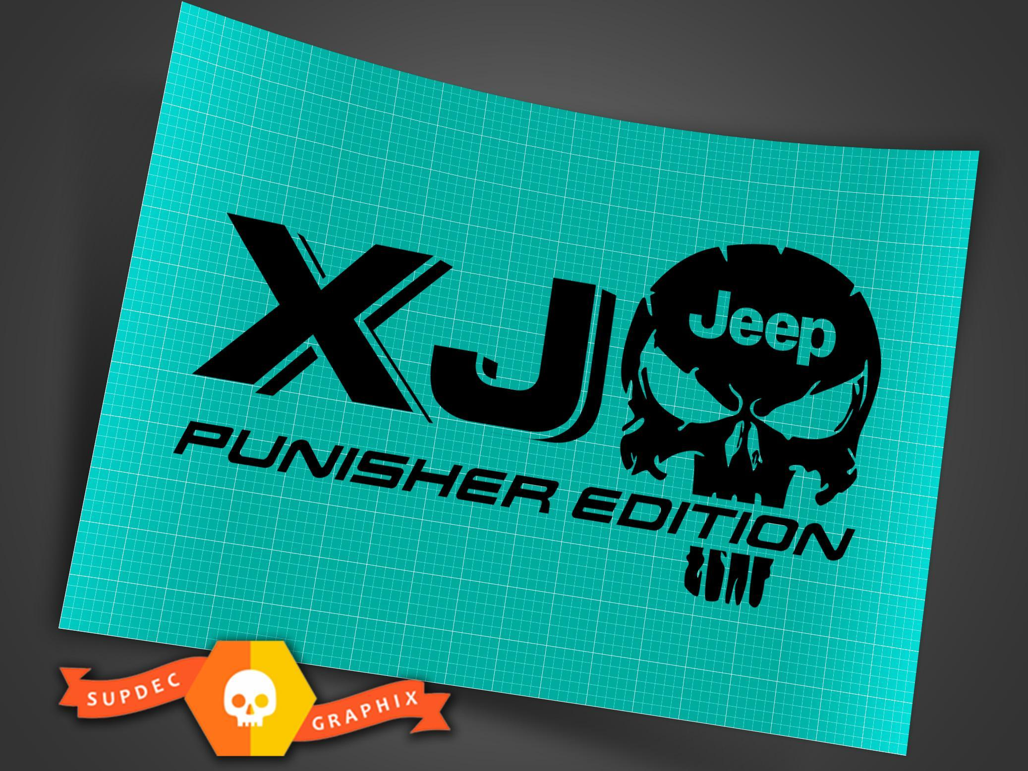 Truck Car Decal - (2) XJ JEEP Punisher EDITION - Vinyl decal Outdoor vinyl