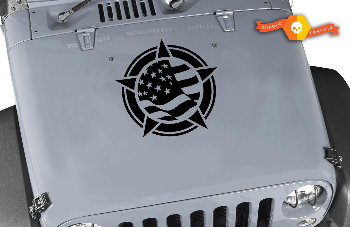 Jeep Wrangler TJ LJ JK JKU YJ Flag Star Kit Set Hood Vinyl Decal Car-Truck