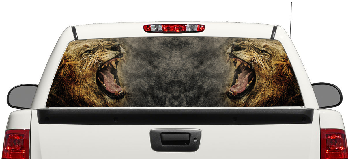 Lion Angry Wild Animal King logo Rear Window Decal Sticker Pick-up Truck SUV Car 3