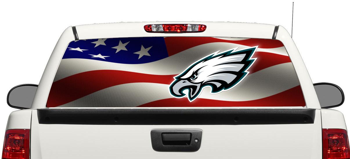 Philadelphia Eagles Football American Flag Rear Window Decal Sticker Pick Up Truck Suv Car 3