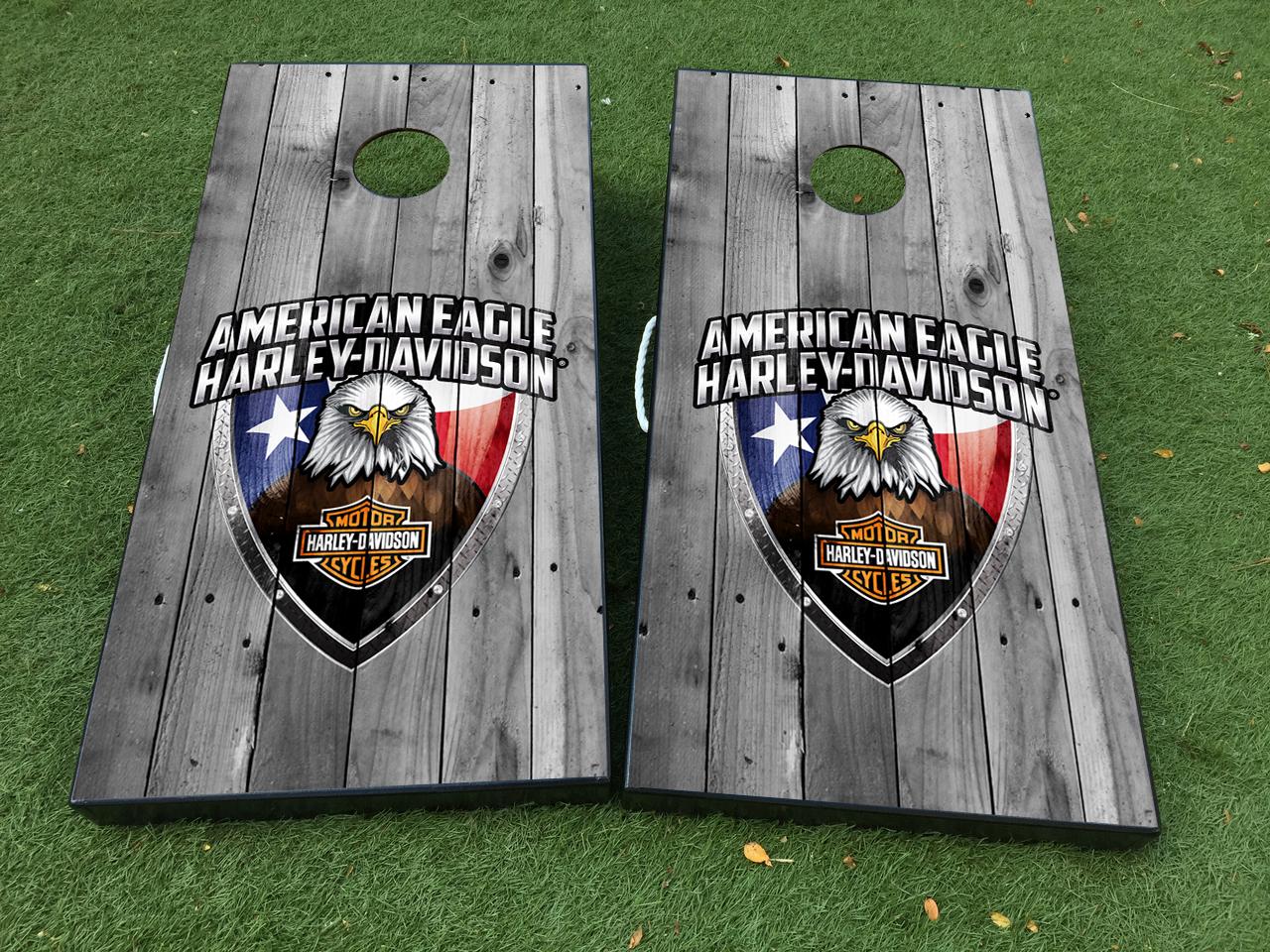 American eagle harley davidson usa cornhole board game decal vinyl wraps with laminated