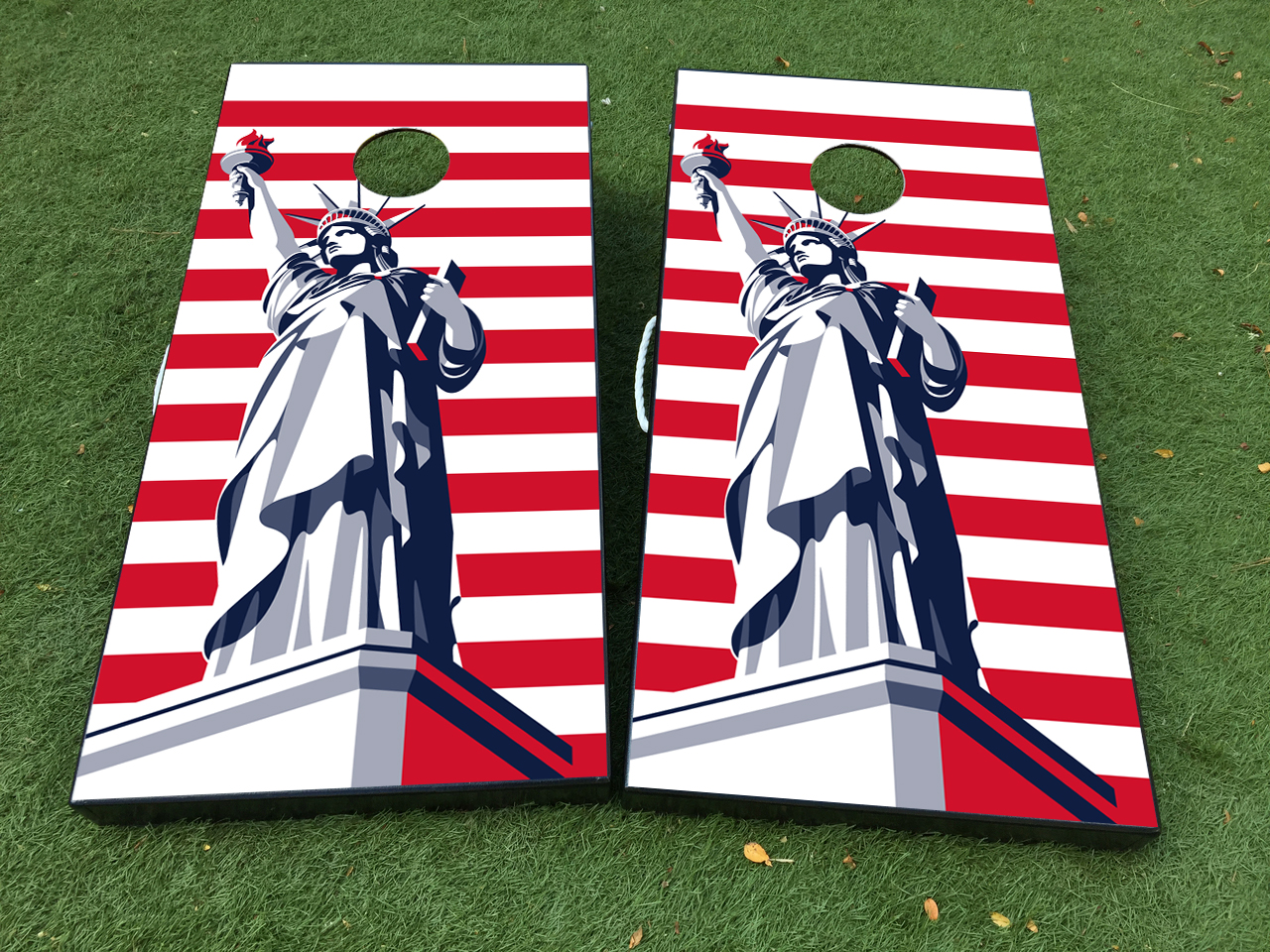 Statue of Liberty USA American Flag Cornhole Board Game Decal VINYL WRAPS with LAMINATED