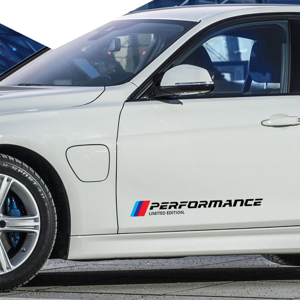 A pair car side door body sticker decals m performance graphics strips for bmw