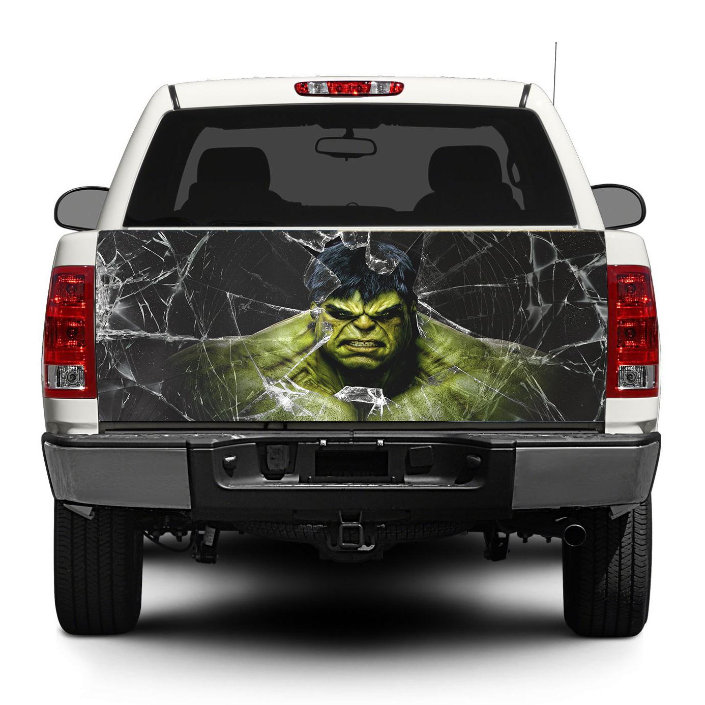Hulk and broken glass tailgate decal sticker wrap pick up truck suv car