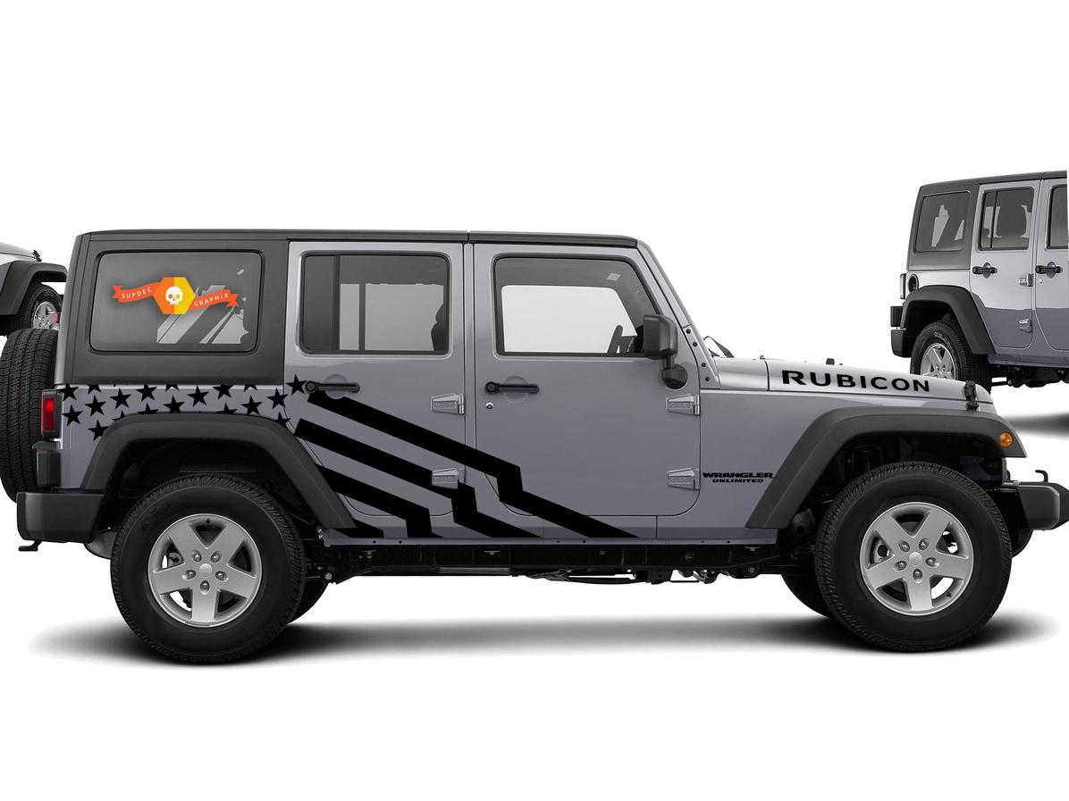 US theme Star Graphic Decal for 07-17 Jeep Wrangler Unlimited JK 4 Door