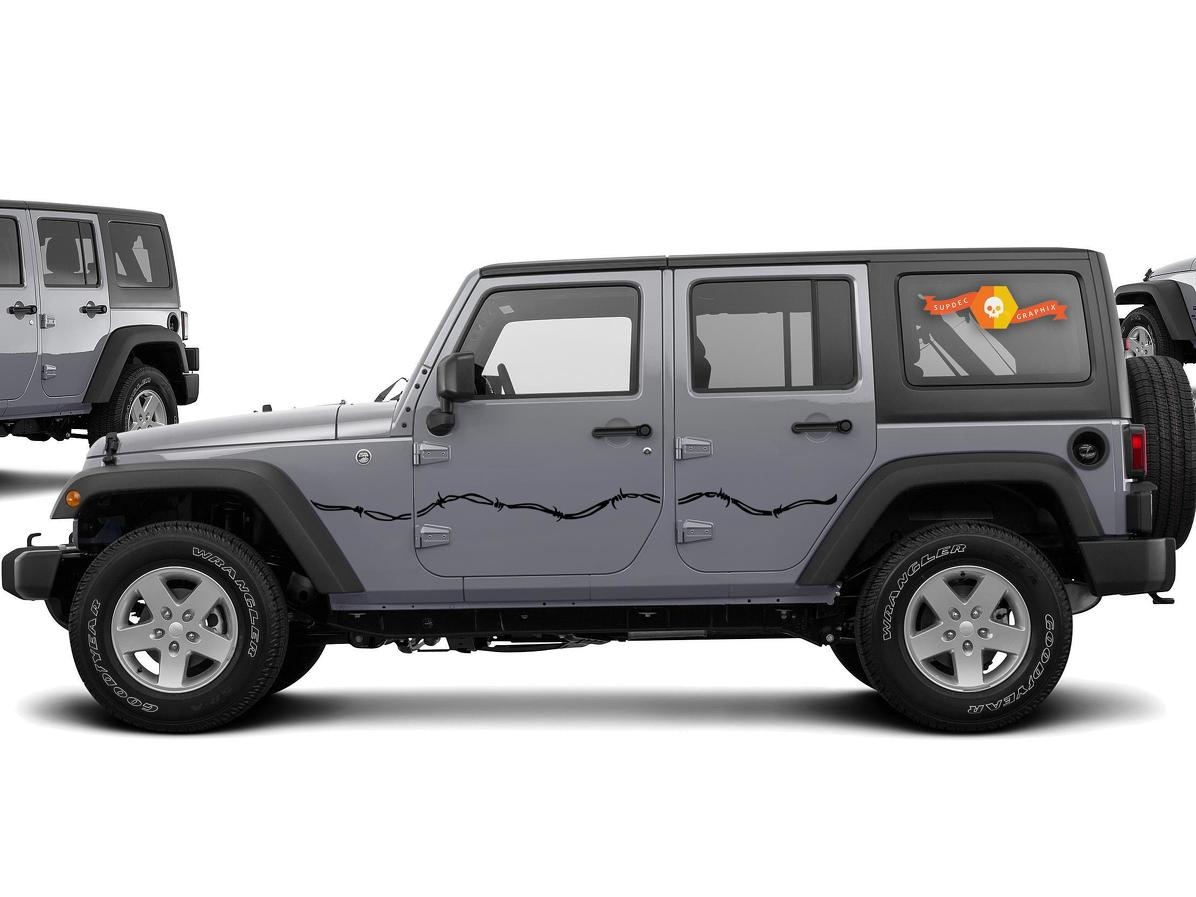 Product Barbed Wire Side Decals For 07 17 Jeep Wrangler