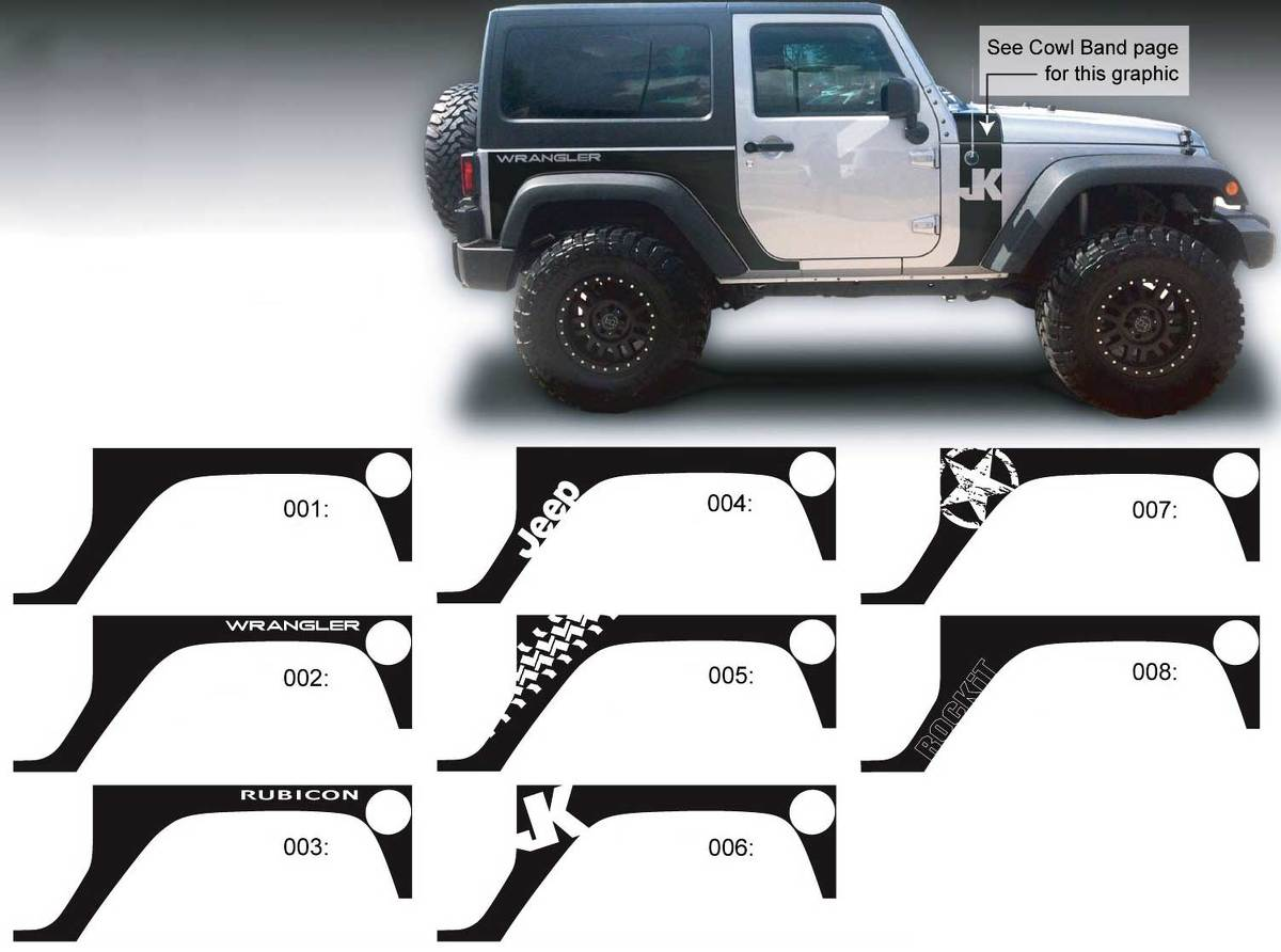 Product: JEEP Decal Sticker Rear Quarter side graphics 07-16 Wrangler JK 2  door