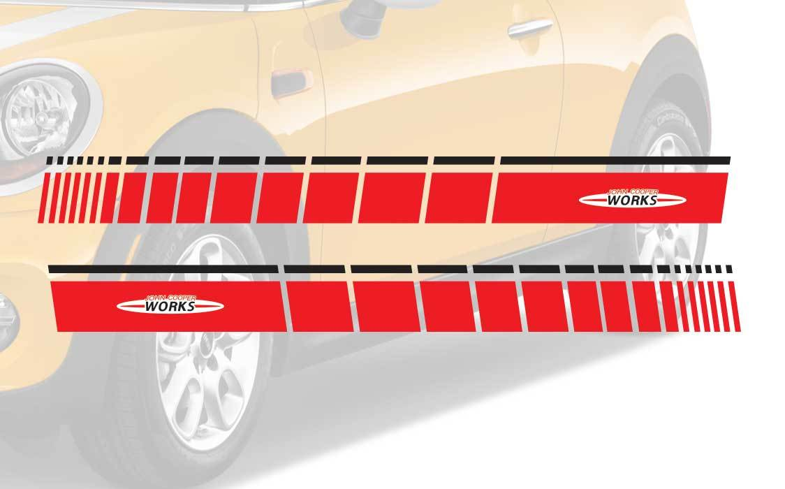 Mini Cooper R56 F56 Seite 2 Farben Streifen Grafik Aufkleber John Cooper Works Streifen