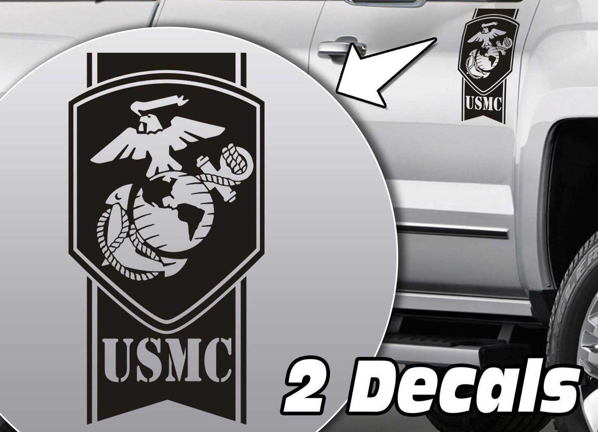 Product military army usmc globe stripes truck bed side decal stickers fits to dodge ram chevy silverado ford f150 toyota tundra