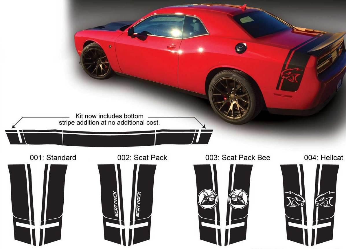 Dodge Challenger Seiten- und Heckband Scat Pack HELLCAT Super Bee Aufkleber Aufkleber Grafik passt zu Modellen 2015 Scatpack