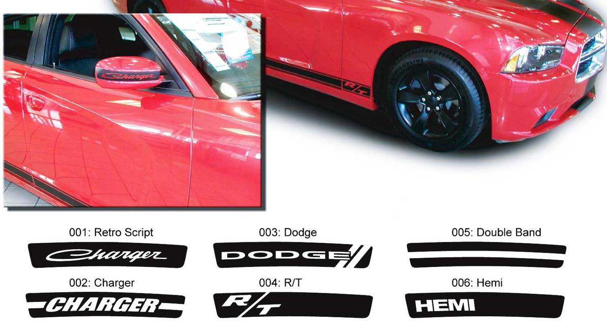 Dodge Charger Mirror Decal Sticker Hemi RT graphics fits to models 2011-2016