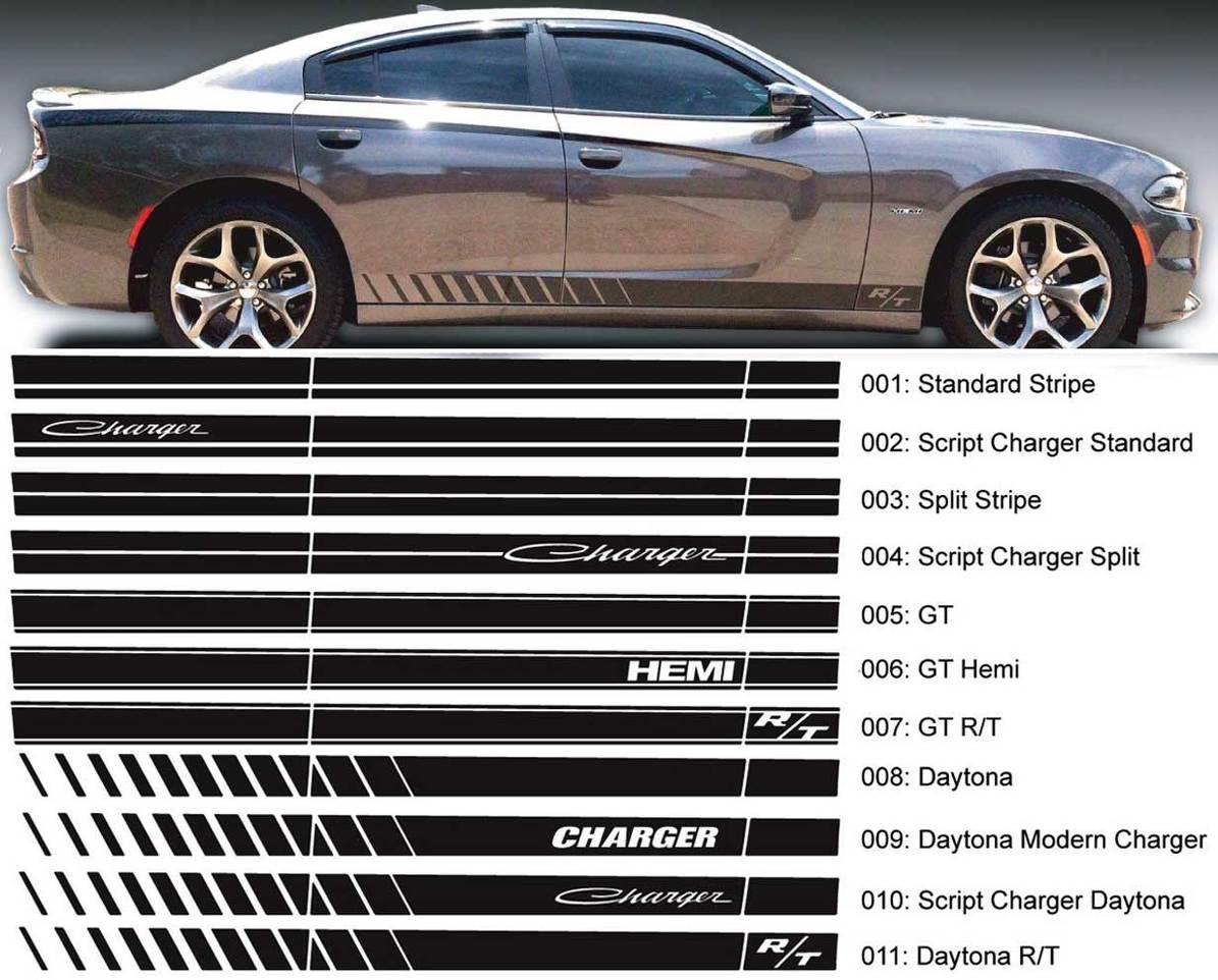 Dodge Charger Script Rocker Streifen Seite Band Aufkleber Aufkleber Hemi Daytona RT GT Mopar Grafik passt zu Modellen 2006-2020