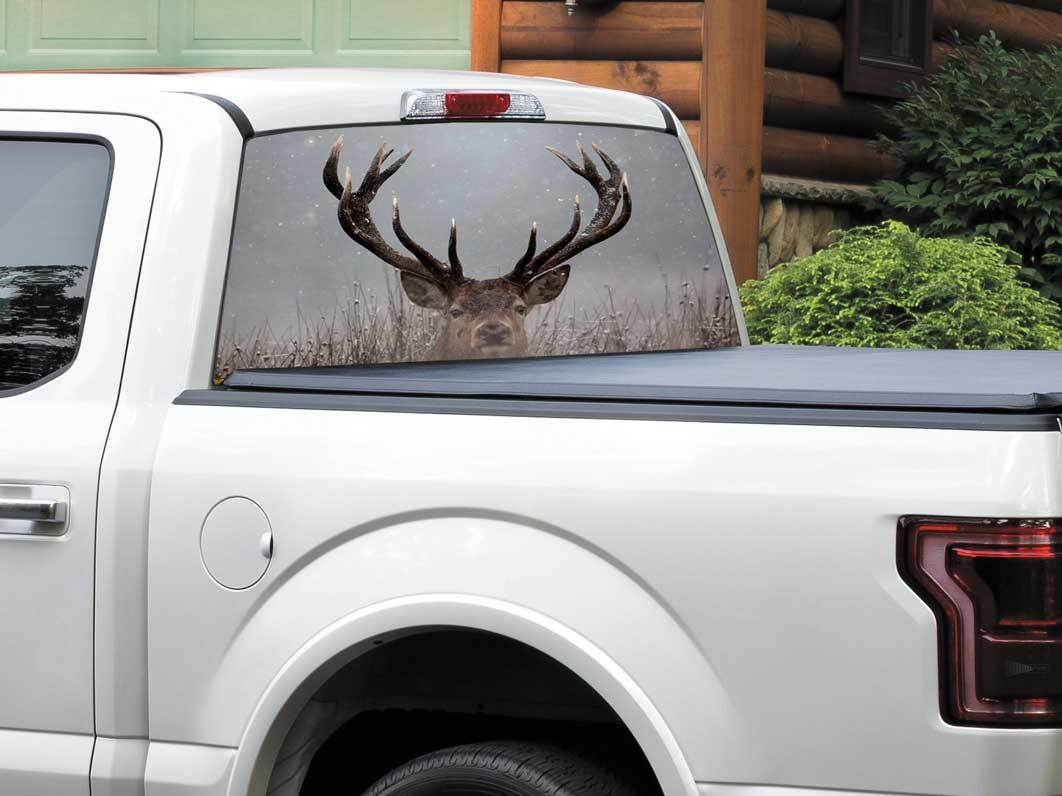 Deer head in winter nature Rear Window Decal Sticker Pick-up Truck SUV Car any size