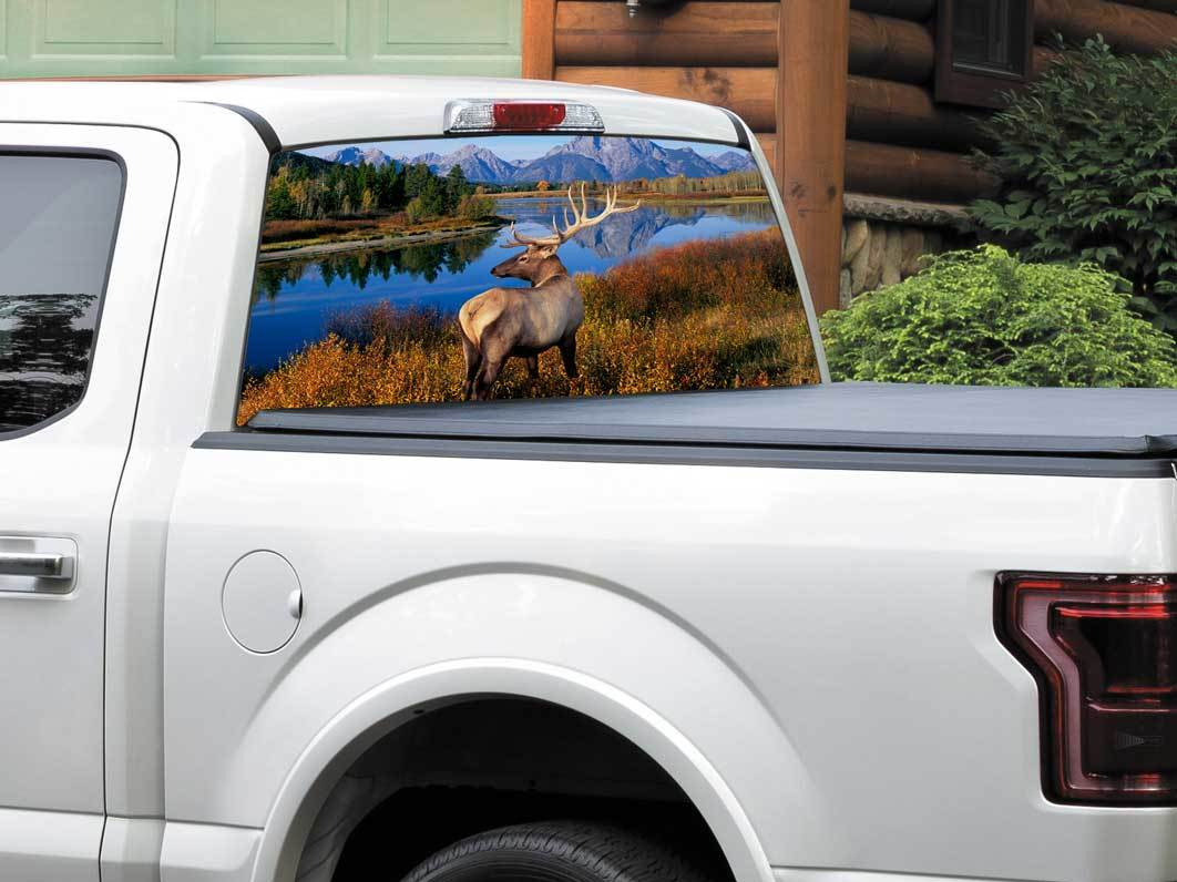 Deer mountains river us landscape nature rear window decal sticker pick up truck suv car any size