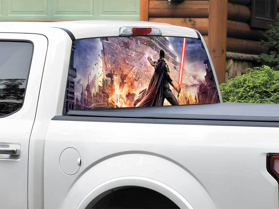 Lightsaber Star Destroyer Star Wars Starkiller Video Game Rear Window Decal Sticker Pick-up Truck SUV Car any size