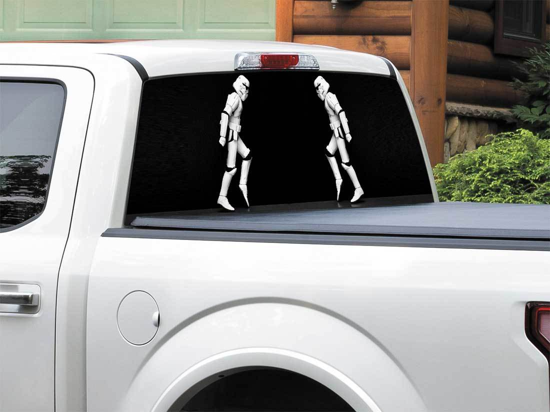 Star wars dancing stormtrooper funny rear window decal sticker pick up truck suv car any size