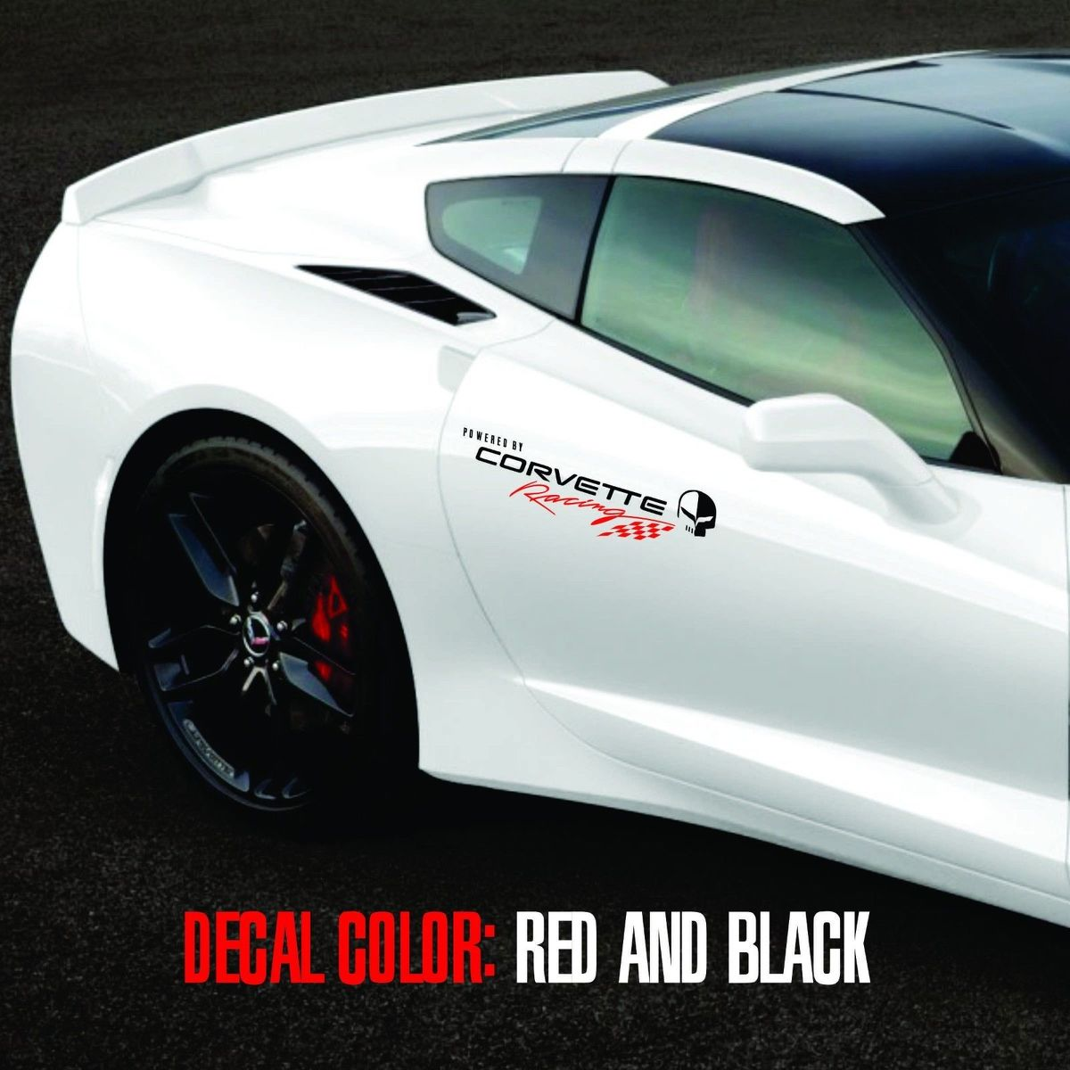 Corvette Racing 1 pair logo Vinyl Graphic Decals C3 C4 C5 C6 C7 ZO6 ZR1 Black and Red