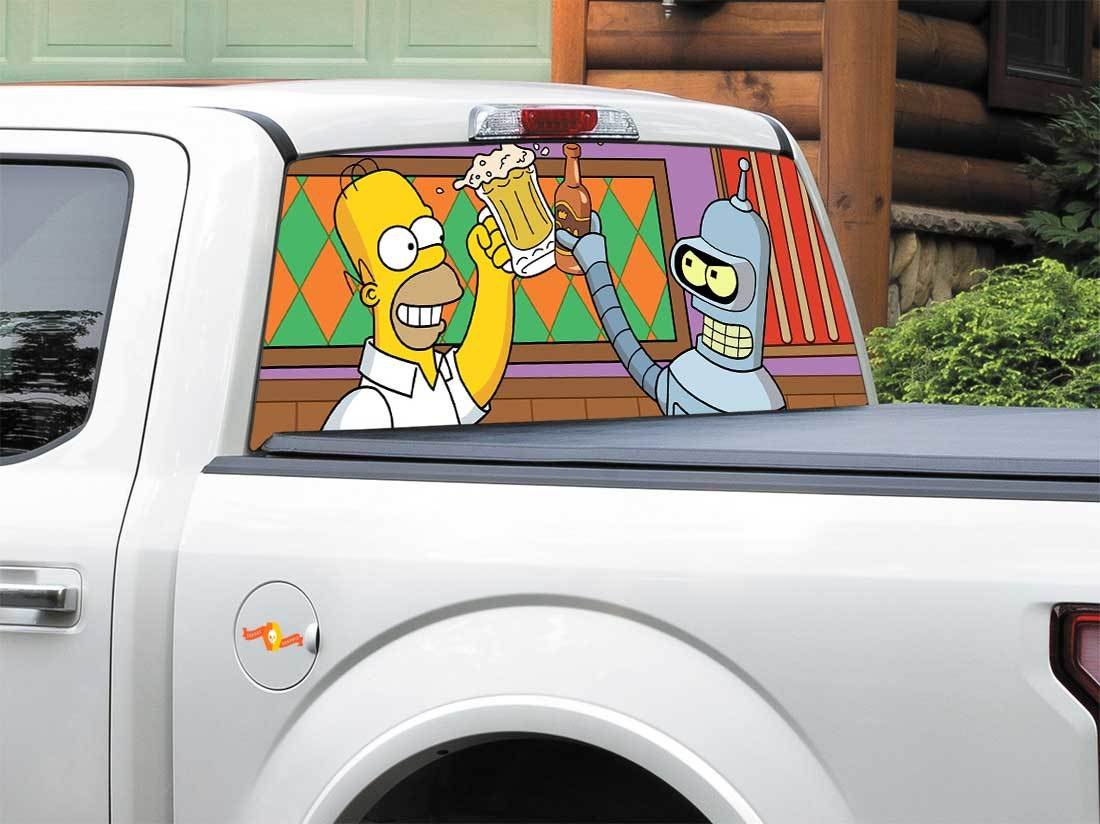 Bender Futurama Homer Simpson-TV shows  Rear Window Decal Sticker Pick-up Truck SUV Car any size