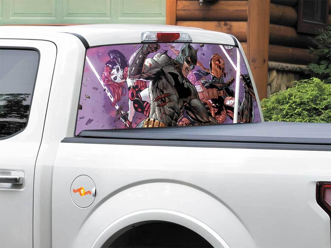 Batman dc comics deathstroke harley quinn dc comics rear window decal sticker pick up truck suv car any size