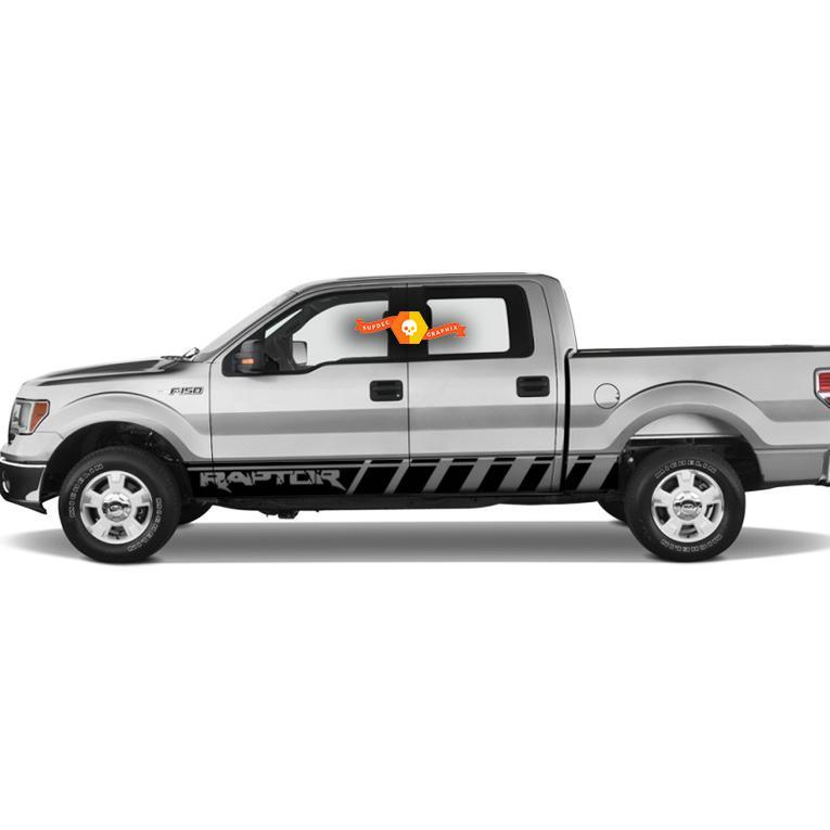Ford Raptor lettering Truck F-150 Bed Side Rocker Panel Stripes Graphic decals stickers fits models 2010-2020