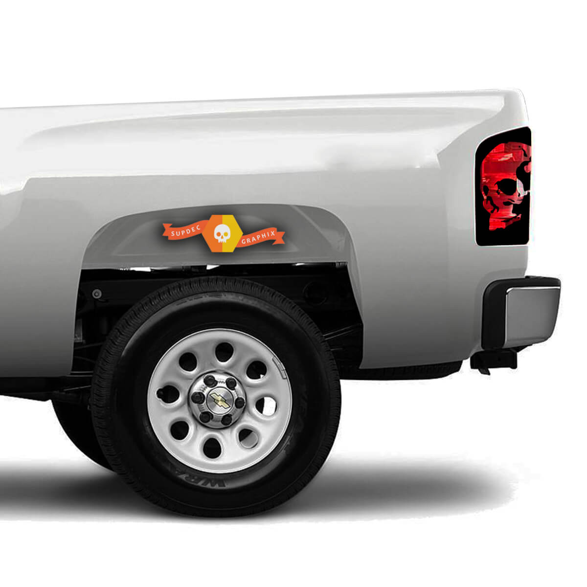 Chevrolet Silverado Truck 1500/2500/3500 Skull Brake Light Graphic decals stickers fits models 2008-2013