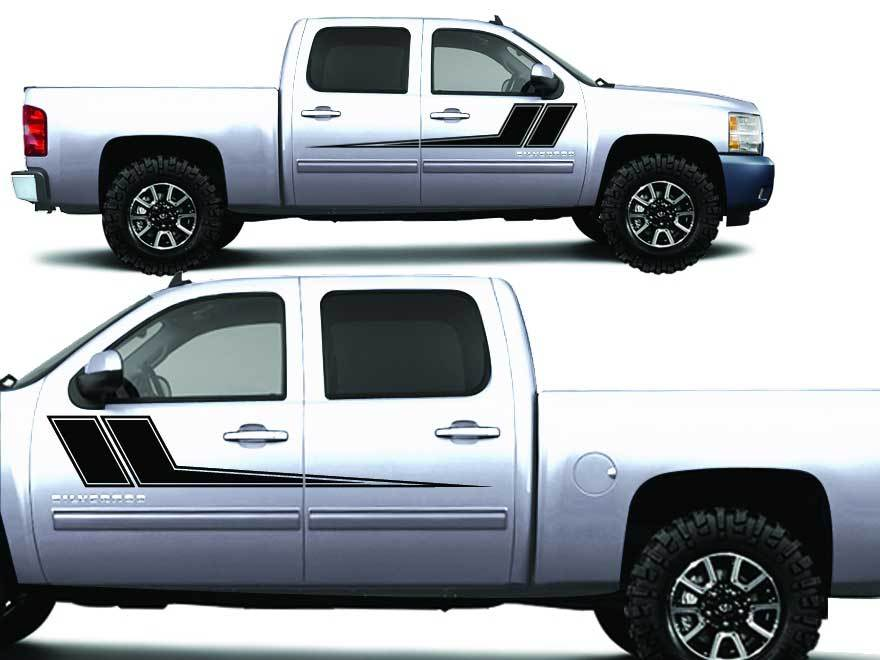 Chevrolet Silverado Truck 1500/2500/3500 RALLY STRIPE Graphic decals stickers fits models 2008-2013