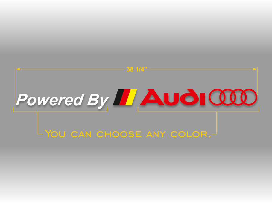 Product: Audi powered by logo with German flag windshield vinyl sticker decal banner