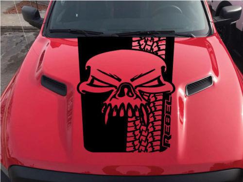 Product Dodge Ram Skull Tire Tracks Rebel Hood Logo Truck