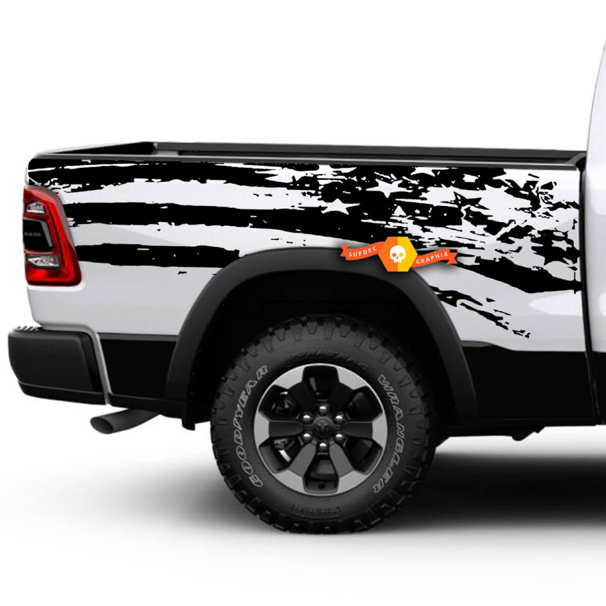 Product dodge ram rebel american flag side pickup distressed grunge vinyl graphic decal