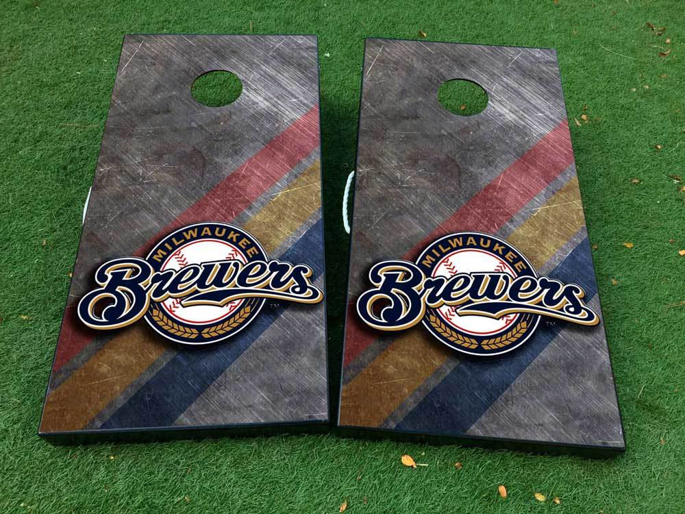 Milwaukee brewers baseball Cornhole Board Game Decal VINYL WRAPS with LAMINATED
