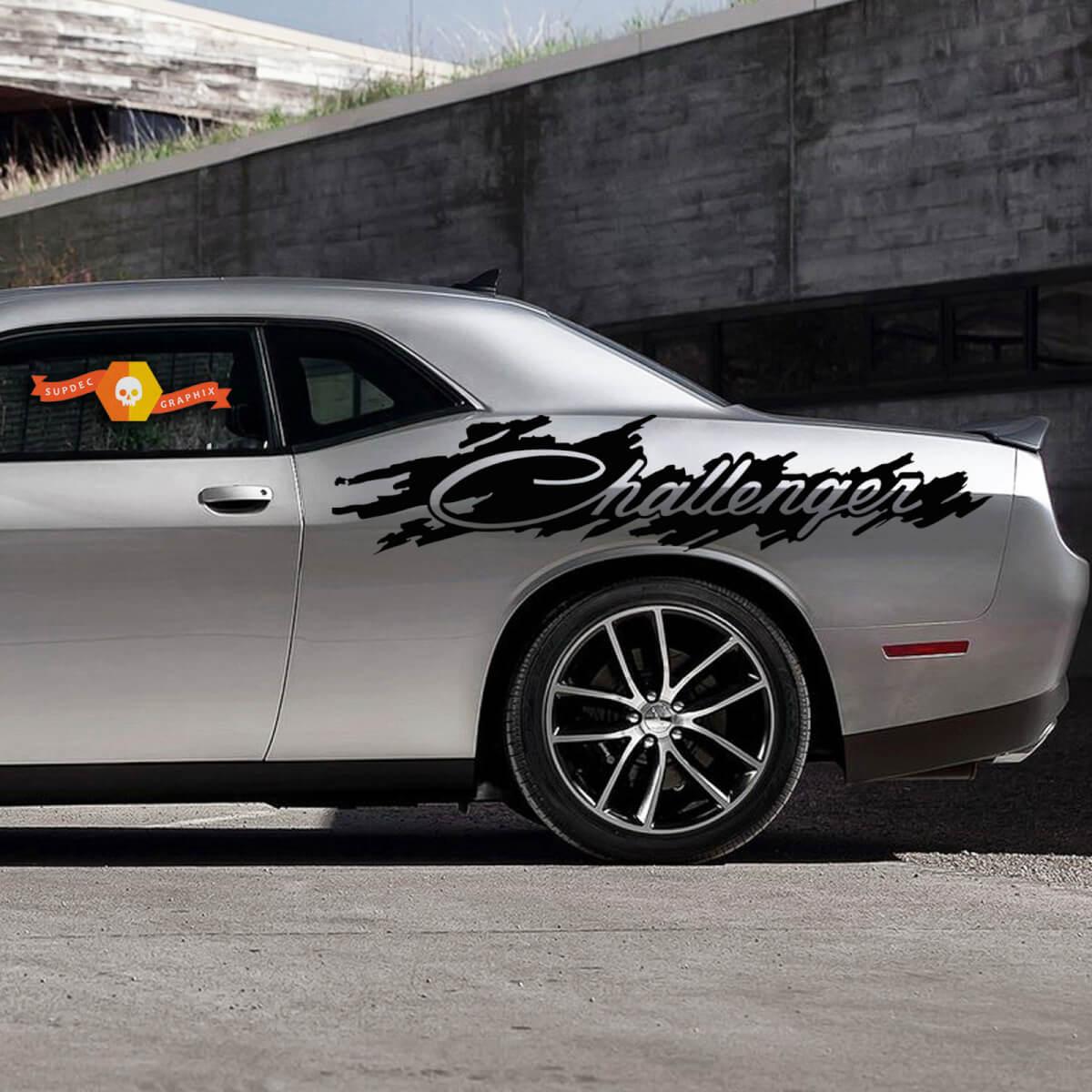 Dodge Challenger Splash Distressed Logo Grafik Vinyl Aufkleber Aufkleber