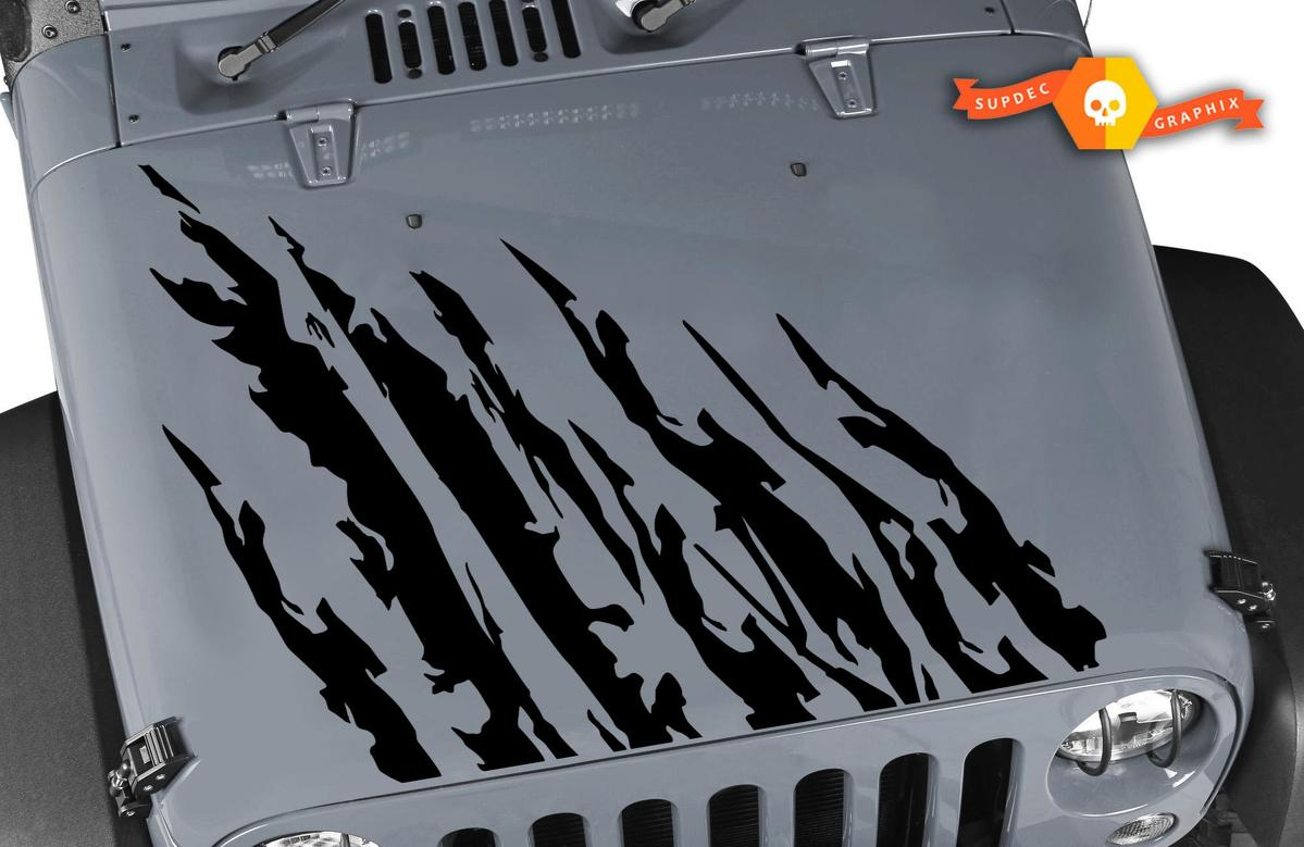 Jeep warrior hood vinyl decal set for jeep wrangler vehicles custom graphics