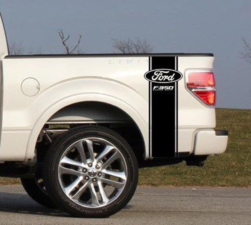 Kundenspezifischer LKW-Ladeflächenstreifen-Aufkleber-Satz von (2) für Ford F-350 Super Duty Pickup