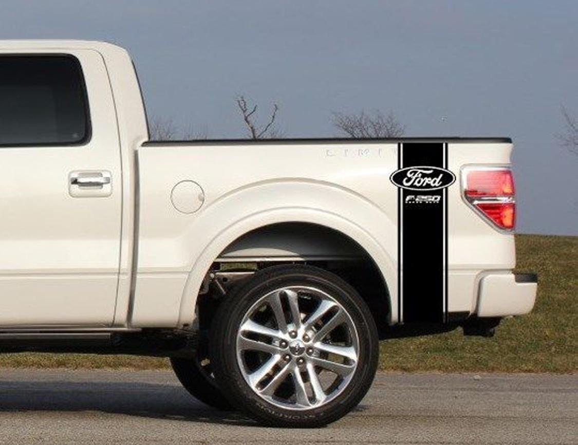 Custom Truck Bed Stripe Aufkleber Set von (2) für Ford F-250 Super Duty Pickup