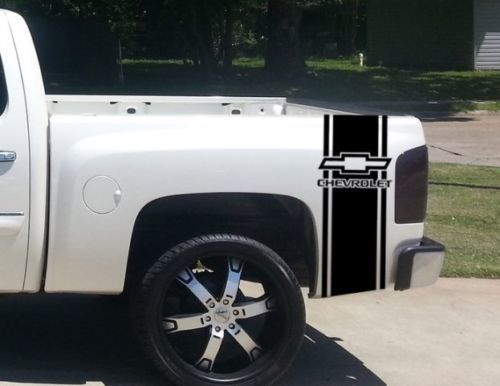 Custom Truck Chevrolet Bow Tie Bed Stripe Decal Set of (2) for Chevy Pickup