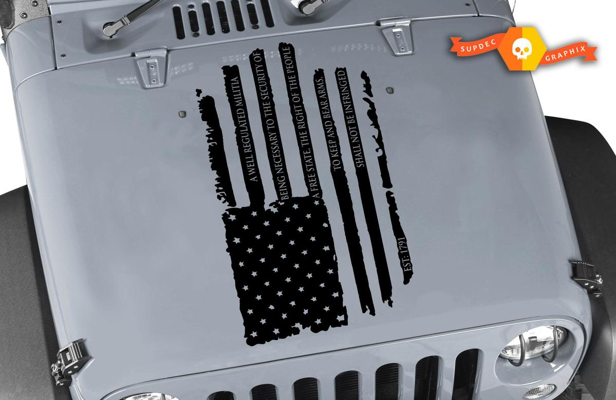 Product Amendment Distressed American Flag Decal Jeep