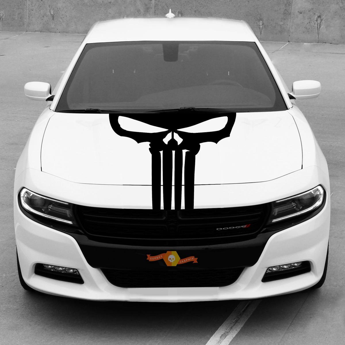 Dodge Charger Hood Blackout Punisher Schädel Aufkleber Streifen 2015-2020