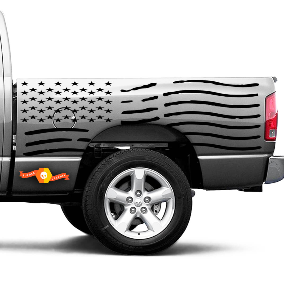 Distressed amerikanische Flagge Dodge Ram Bett Side Truck Vinyl Aufkleber Grafik Cast SUV
