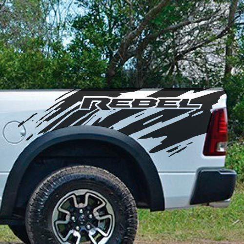 Dodge Ram Rebel Splash Grunge Logo LKW Vinyl Aufkleber Bett Grafik Cast