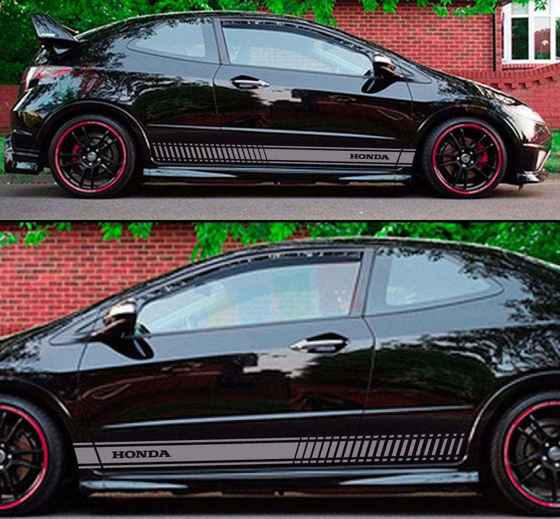 Product decal sticker graphic stripe kit for honda civic type r fn2 spoiler carbon lamp