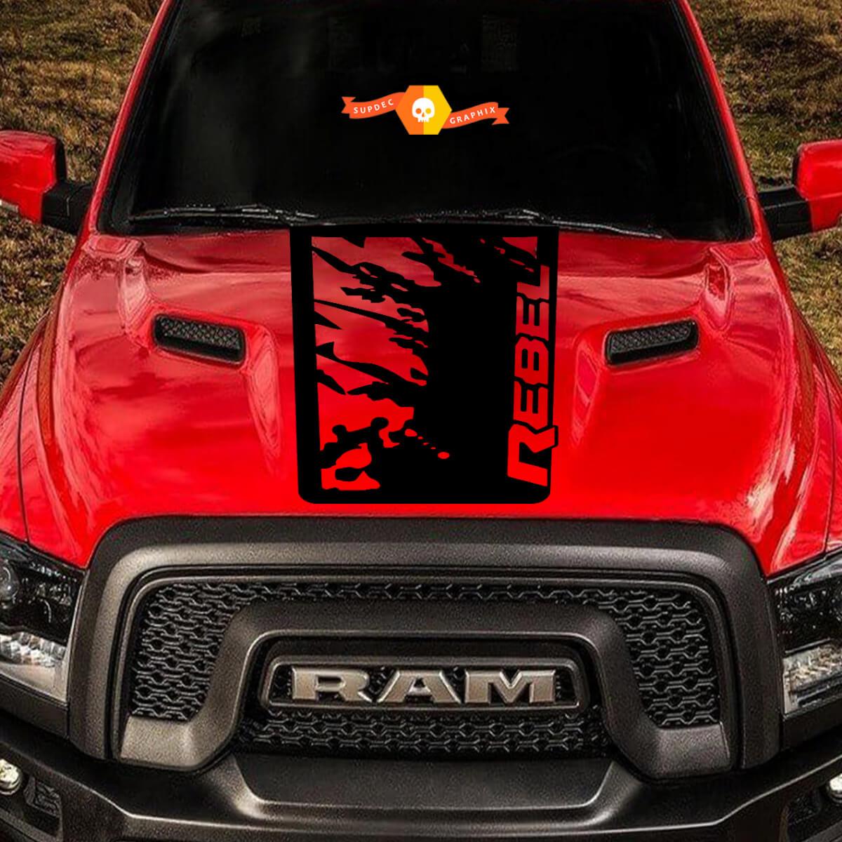 2015-2017 Dodge Ram Rebel Spritzhaube LKW Vinyl Aufkleber Grafik Grunge Splatter