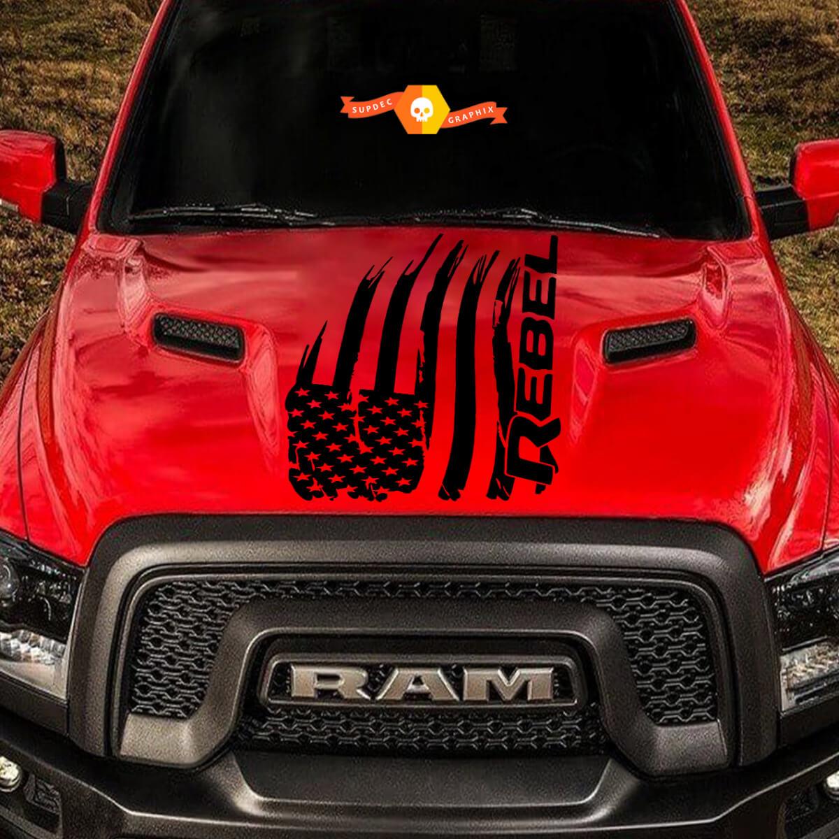 Distressed amerikanische Flagge Dodge Ram Rebel Hood Logo LKW Vinyl Aufkleber Grafik