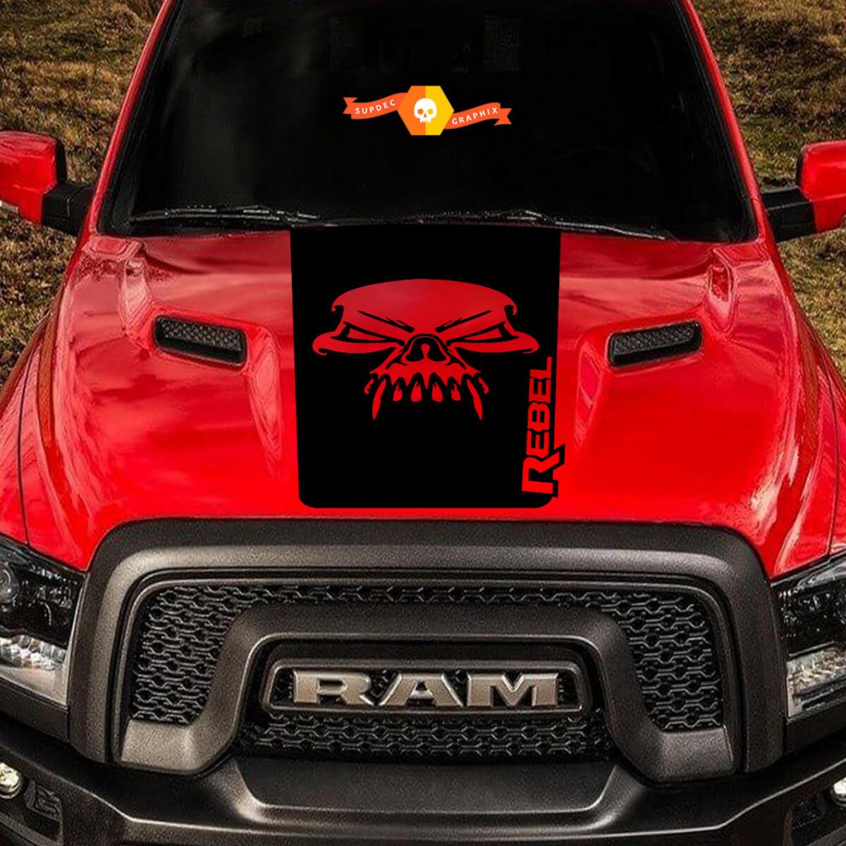 Dodge Ram Schädel Rebel Hood Logo LKW Vinyl Aufkleber Grafik Pickup SUV