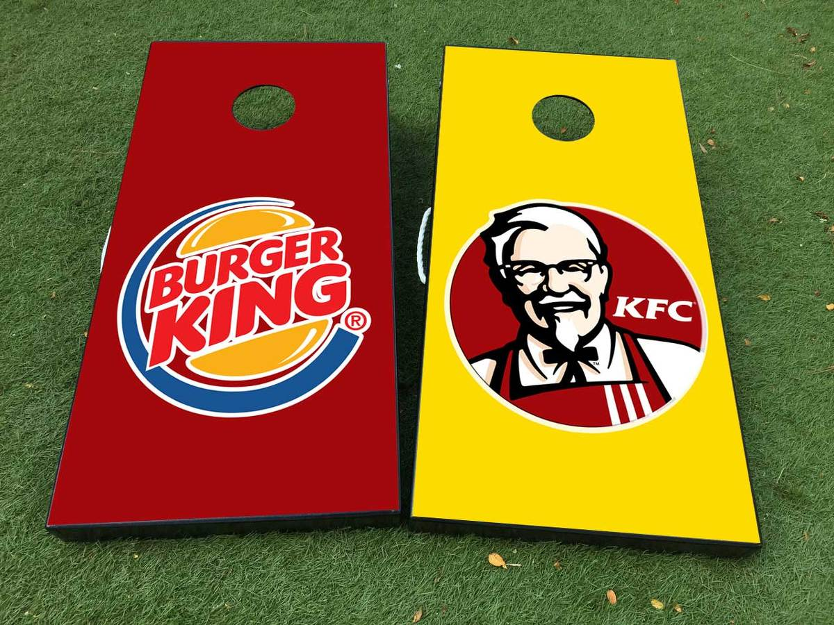 Burger King KFC Cornhole Board Game Decal VINYL WRAPS with LAMINATED