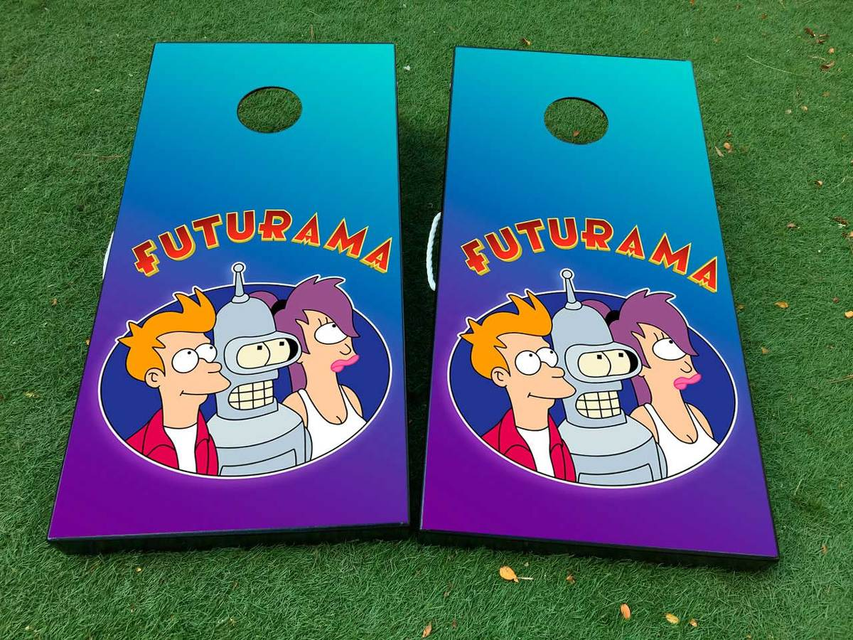 Futurama Cornhole Board Game Decal VINYL WRAPS with LAMINATED