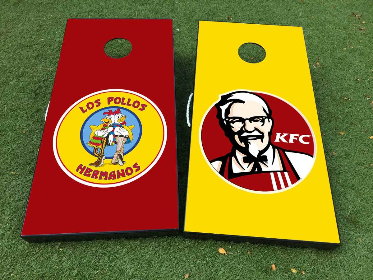 Los Pollos Hermanos Breaking Bad KFS Cornhole Board Game Decal VINYL WRAPS with LAMINATED