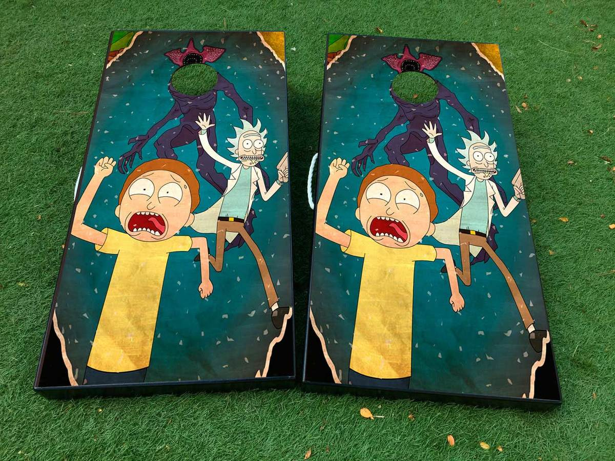 Product Rick And Morty 2 Cornhole Board Game Decal Vinyl